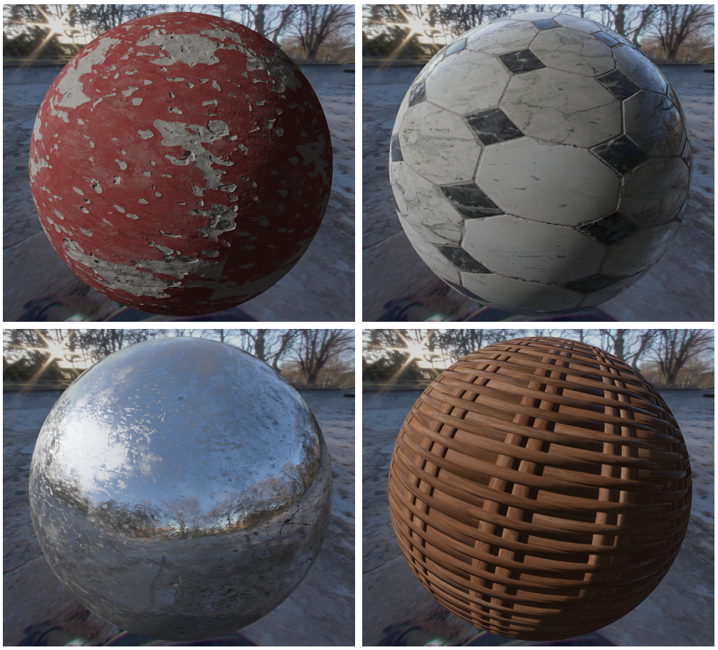 Top-left: Concrete. Top-right: Marble. Bottom-left: Scratched Metal. Bottom-right: WIcker.