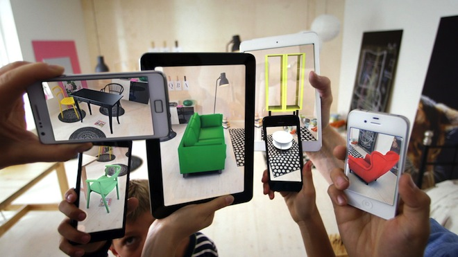 Fig. 2: IKEA app. Once ARKit detects the floor, it is possible to virtually place objects there.