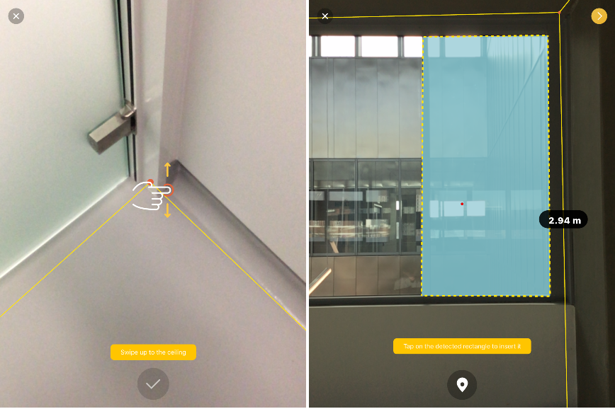 Fig. 5: TapMeasure allows you to estimate the height of the ceiling, detect and measure rectangular regions.