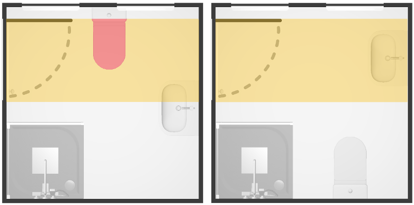 We prefer a layout if the toilet is not in a hypothetical corridor in front of the door. In the layout on the left, the red area indicates the toilet is in this corridor; therefore the layout on the right will be preferred.