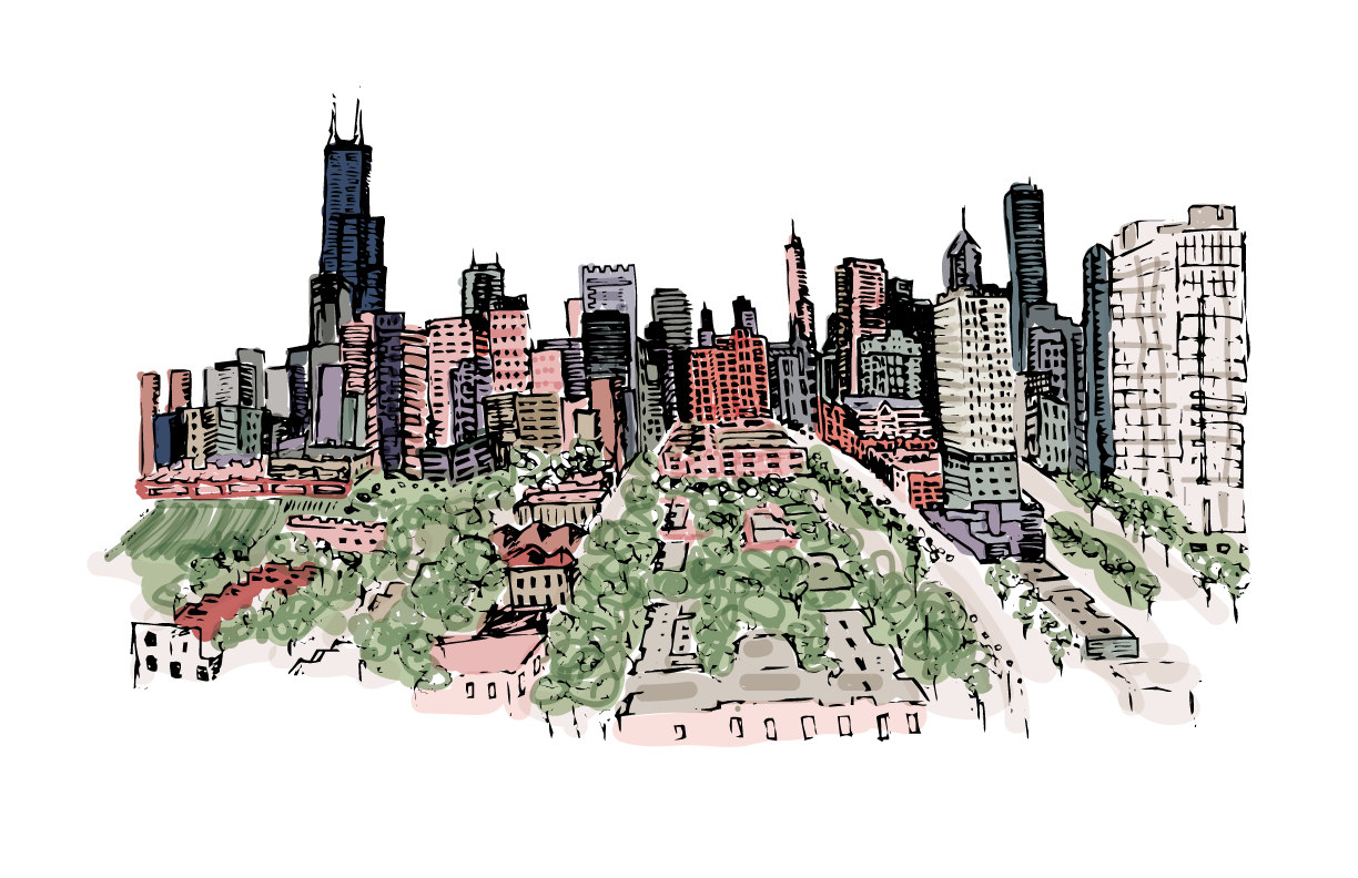 Chicago skyline illustration by Caitlin Hottinger