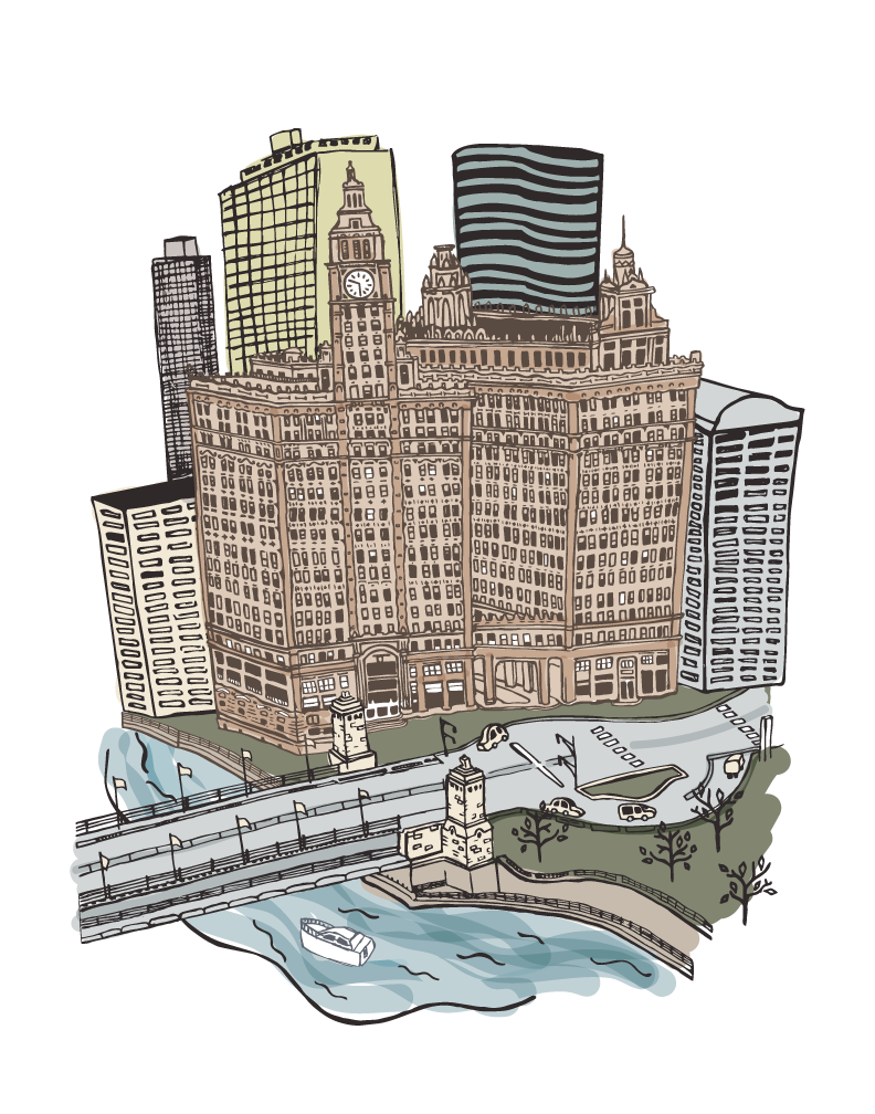 Chicago River Wrigley Building Illustration by Caitlin Hottinger