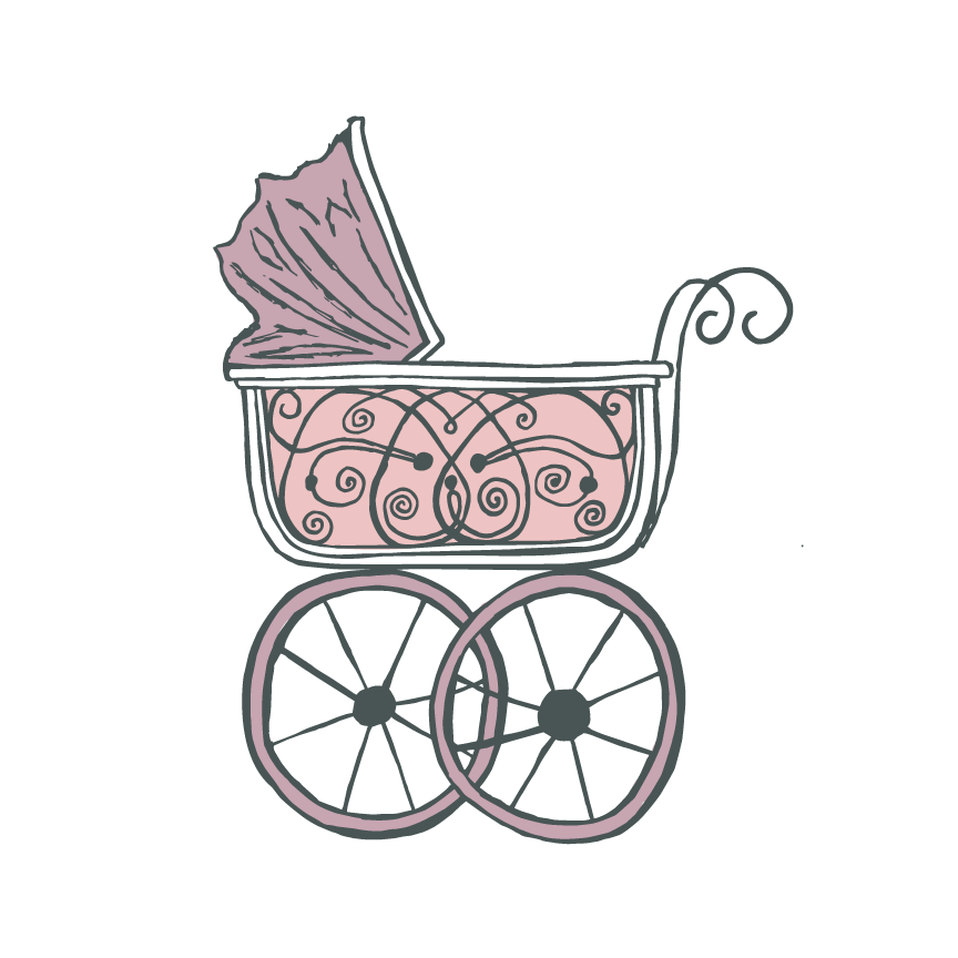 Baby Carriage Nursury Illustration by Caitlin Hottinger