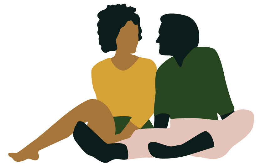 illustration of people sitting by caitlin hottinger