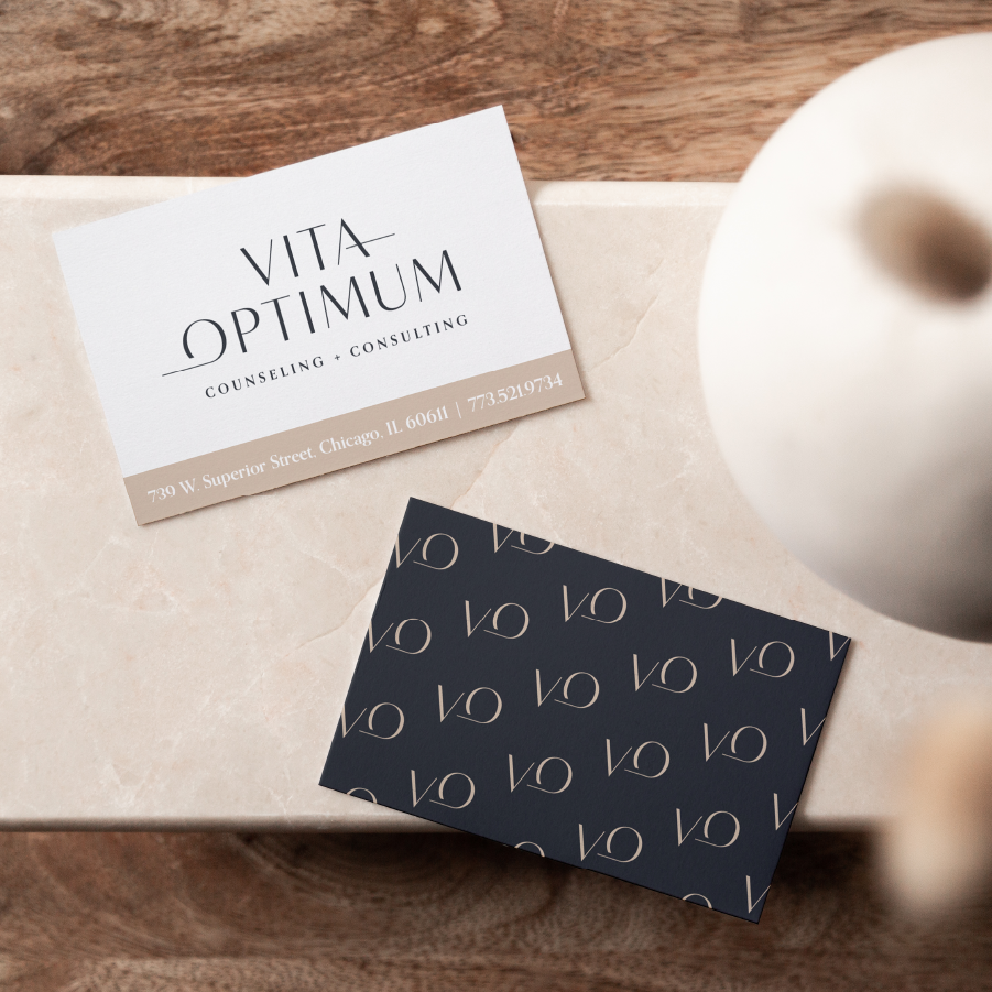 Business cards for Vita Optimum Counseling and Consulting designed by Caitlin Hottinger