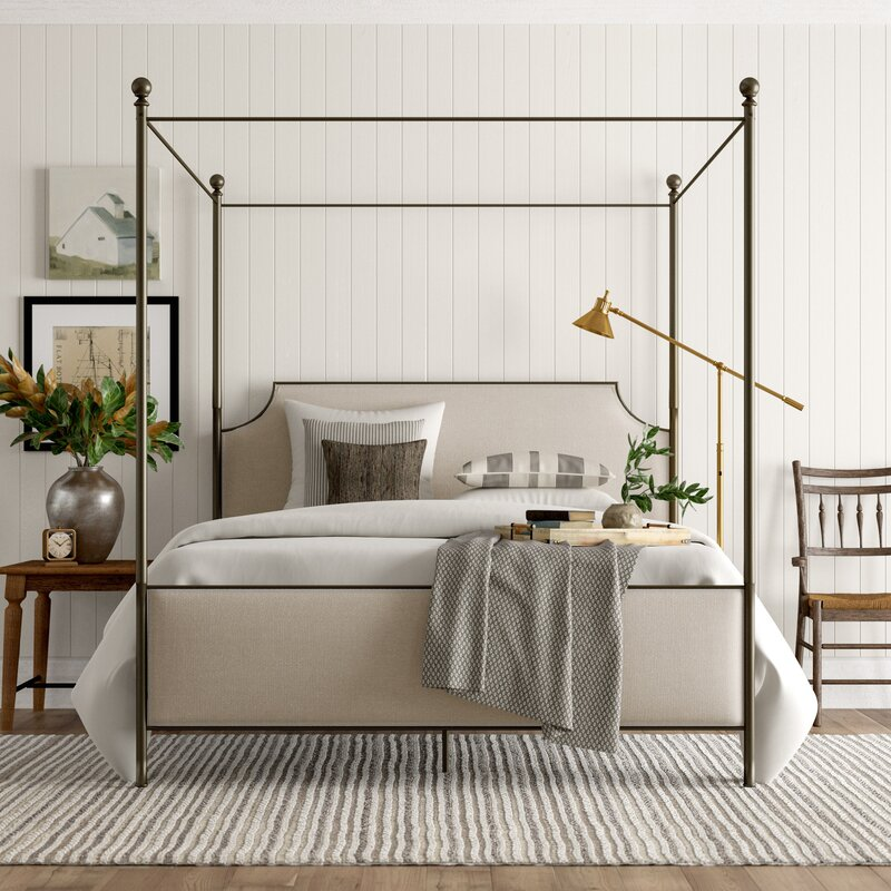 Perran Upholstered Canopy Bed- come explore coastal cottage bedroom ideas with furniture and decor resources on Hello Lovely!