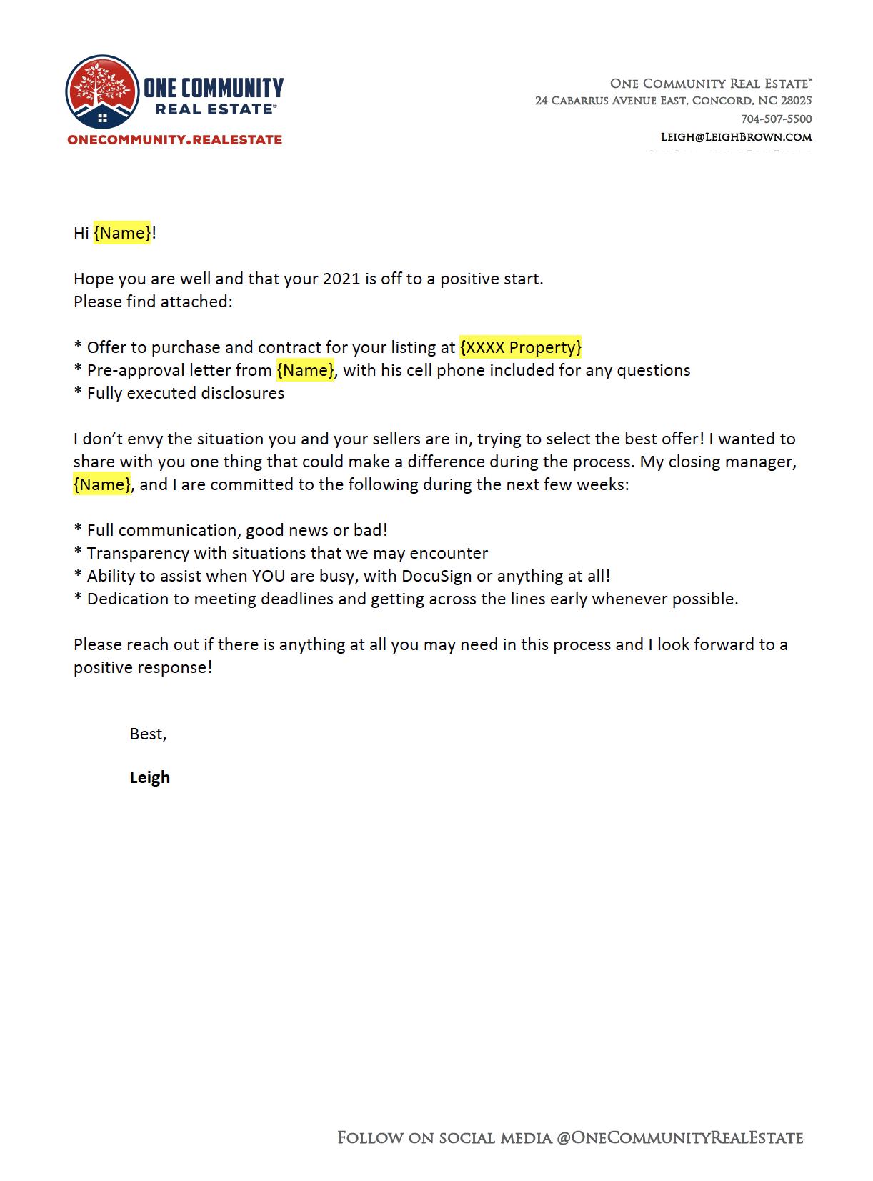 Buyer Agent Letter