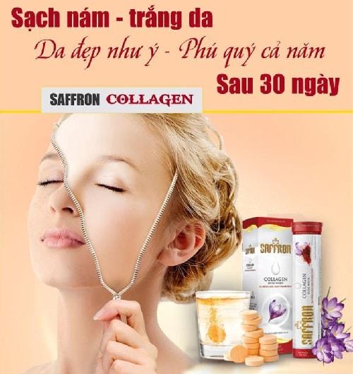 3. Saffron Collagen Extra White : Viên sủi trắng da sạch nám sau 30 ngày
