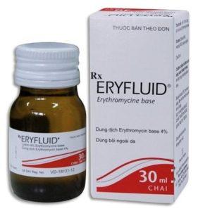 4.Thôi bôi trị mụn nhọt ở mông Eryfluid 30ml chứa Erythromycin 4%