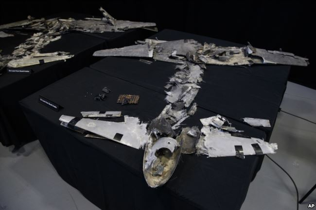 """Debris that was a UAVs (Qasef) is displayed with a sign that reads """"On Loan From Saudi Arabia"""" at the Iranian Materiel Display (IMD) at Joint Base Anacostia-Bolling, in Washington, Nov. 29, 2018."""