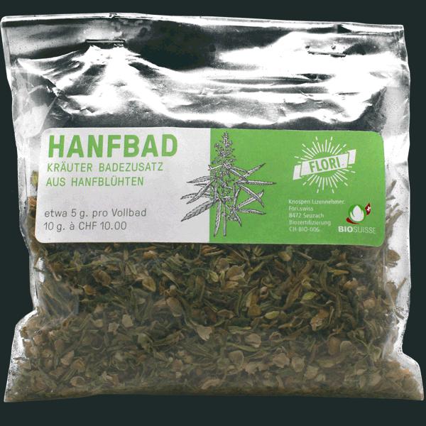 Hanfbad, Kräuter Badezusatz aus Hanf-Blätter und Blüten.