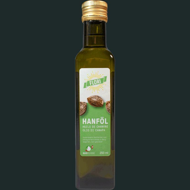 Kalt gepresstes Speise-Öl aus Hanf-Samen mit Omega-3- und Omega-6-Fettsäuren.