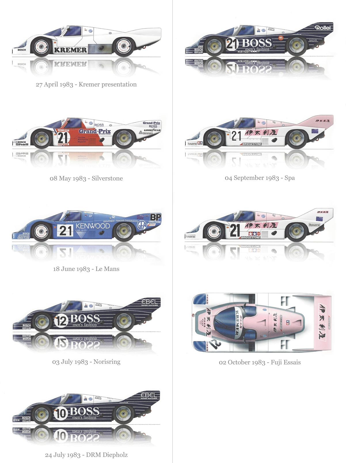 1983 Porsche Kremer Racing Car livery designs