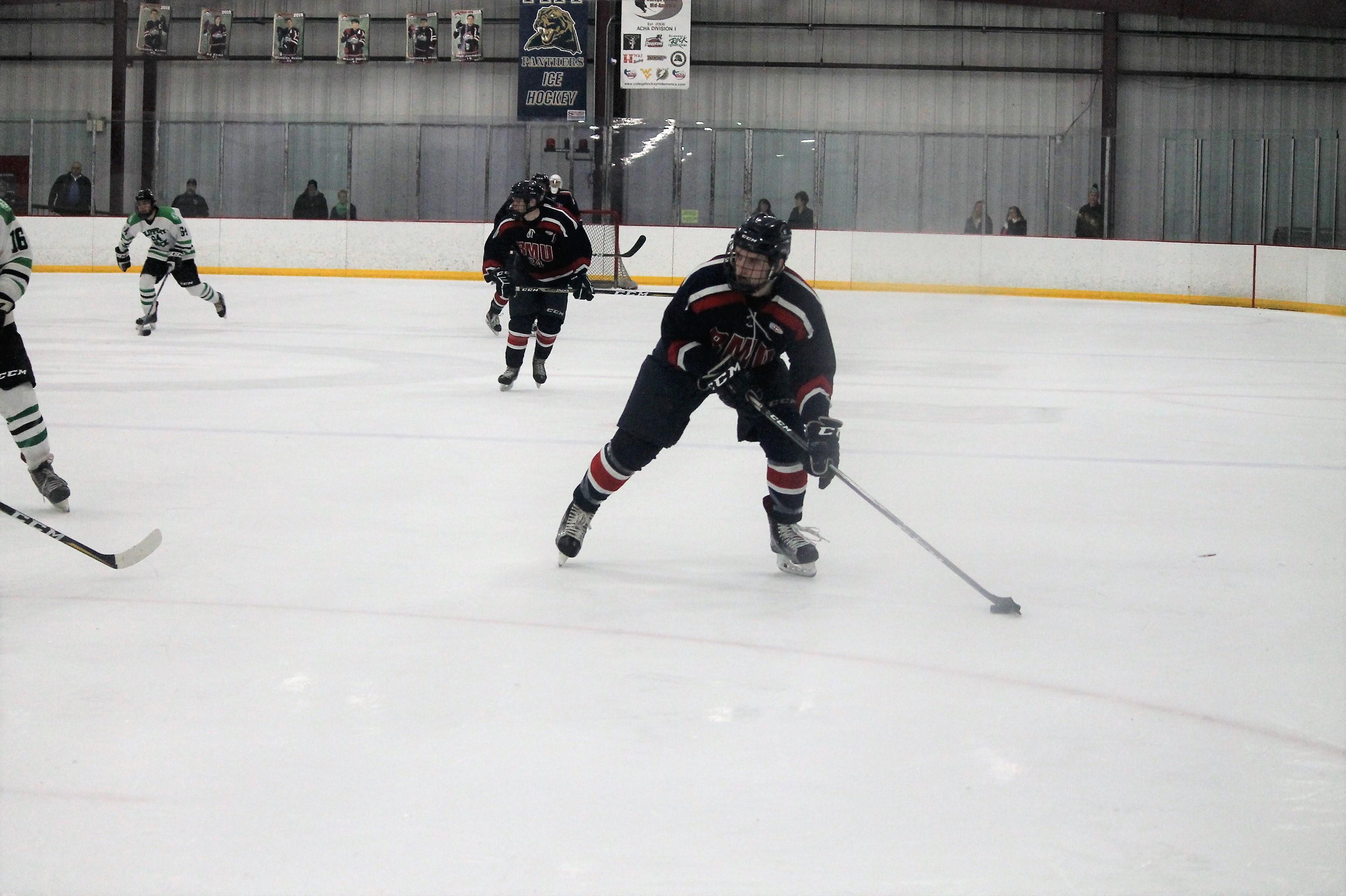 David Roebuck on the ice for Robert Morris University