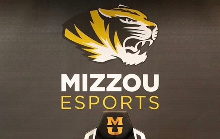 "This shows ""Mizzou Esports"" with the mascot, Truman the tiger, above."