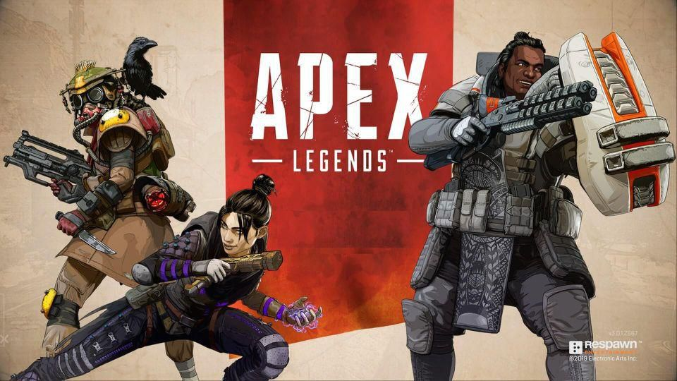 Three characters are shown, two on the left and one on the right. In the center reads Apex Legends.