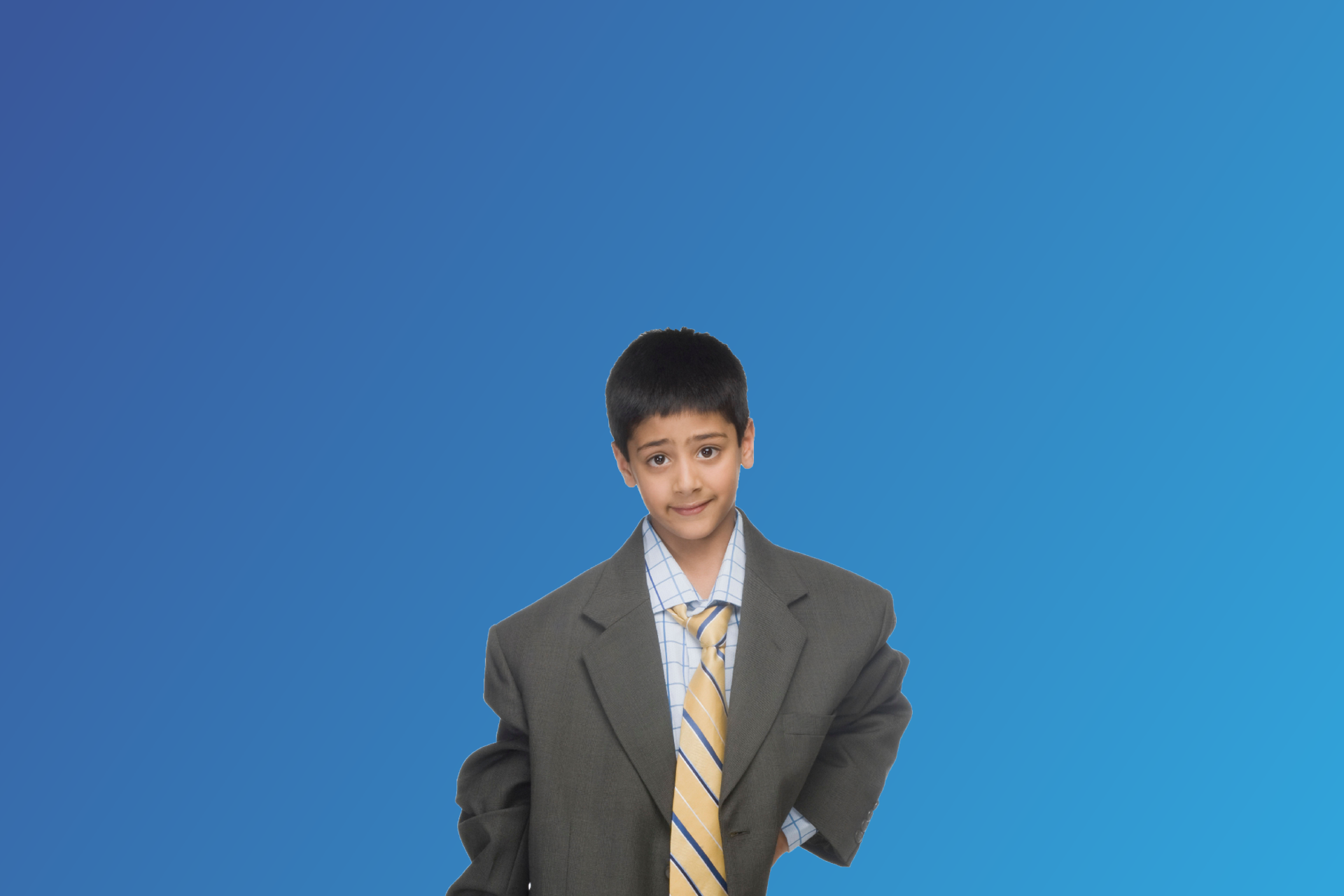 Young boy in an oversized suit