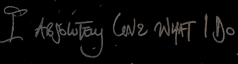 I absolutely love what i do hand written header