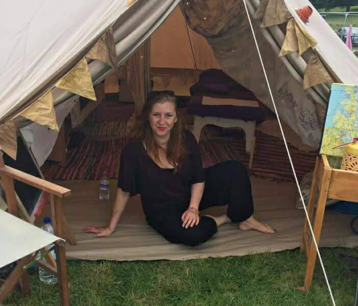 Tara in our bell tent set up for massage