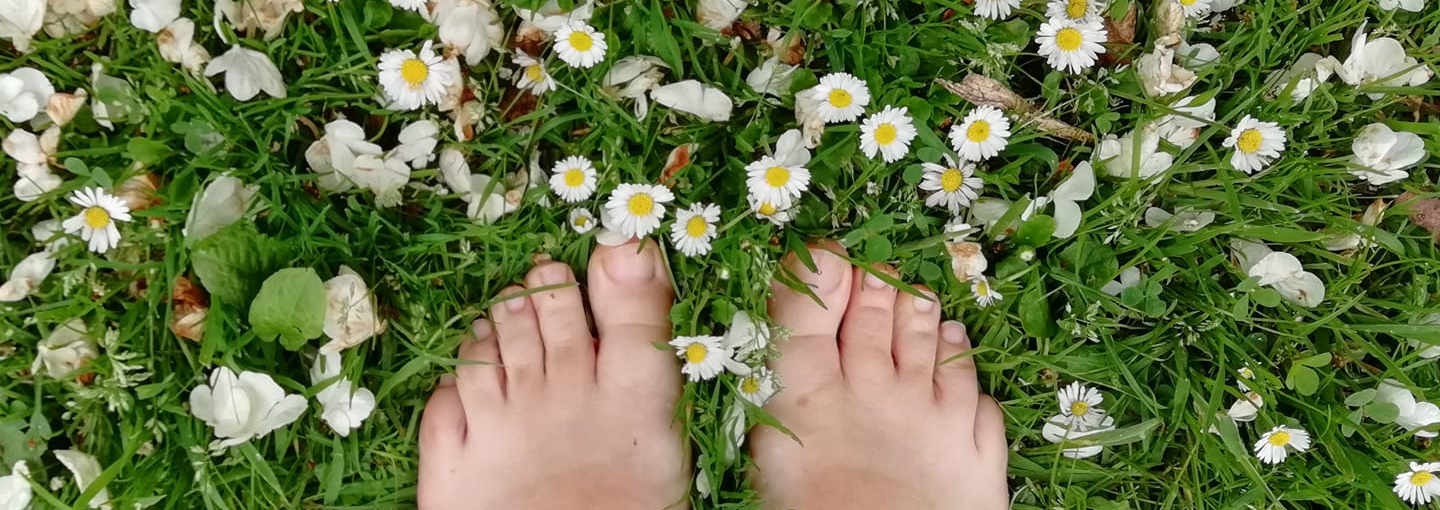 Toes on the grass with daisies