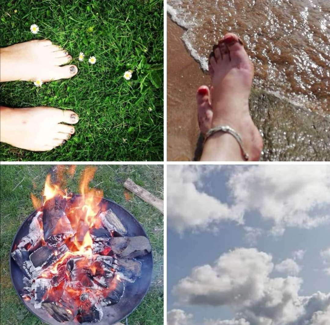 four images for 4 Elements meditation. earth, water, fire, air. (c) Therapy Room Annan