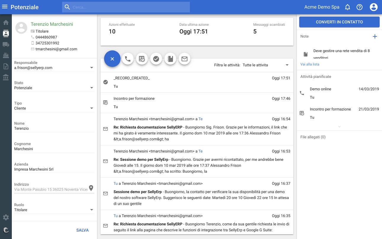 Sincronizzazione email nella scheda del lead/contatto