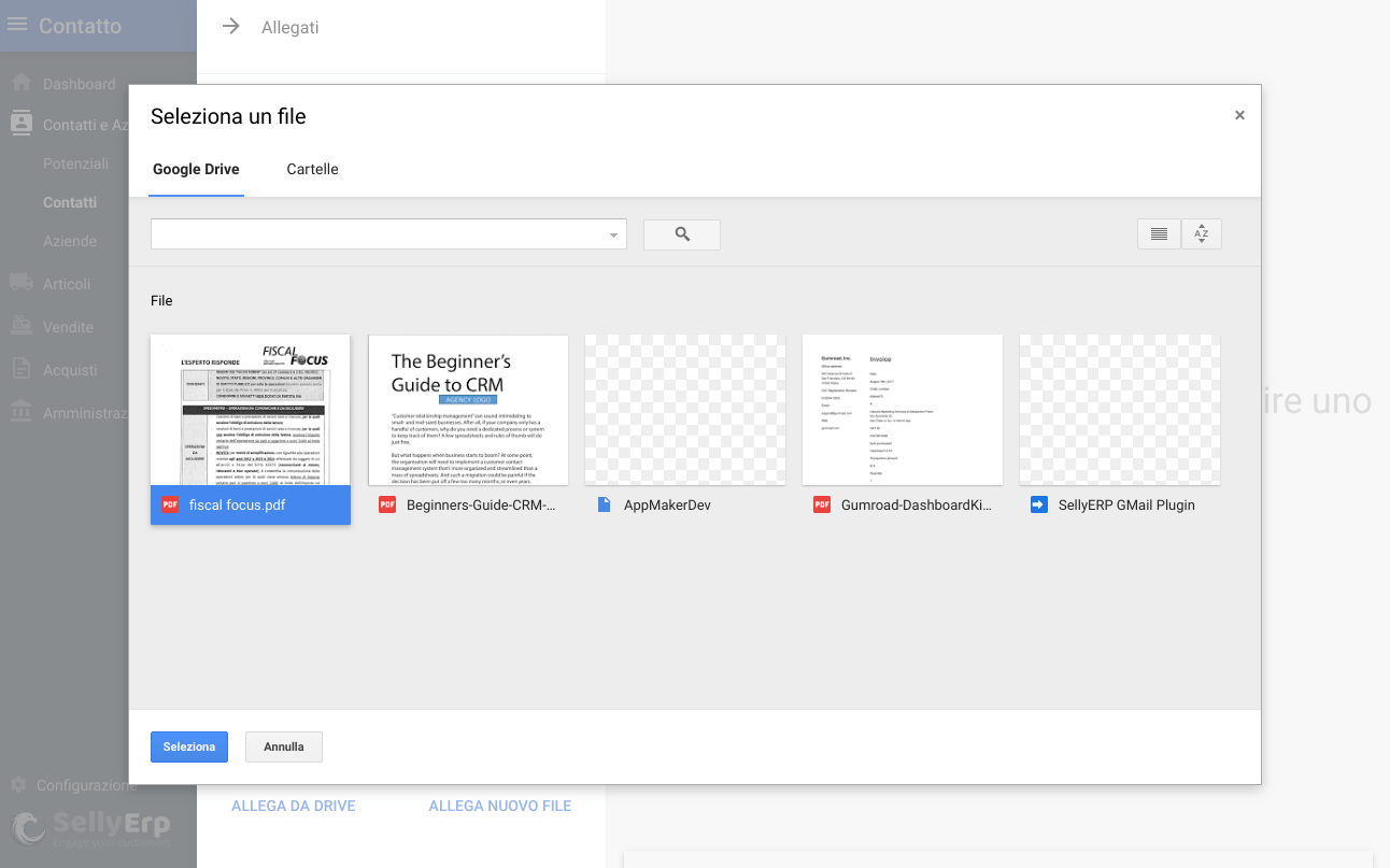 Allega documenti da Google Drive