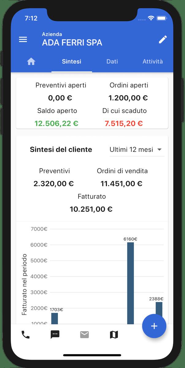 App mobile gestione clienti dati vendita tempo reale