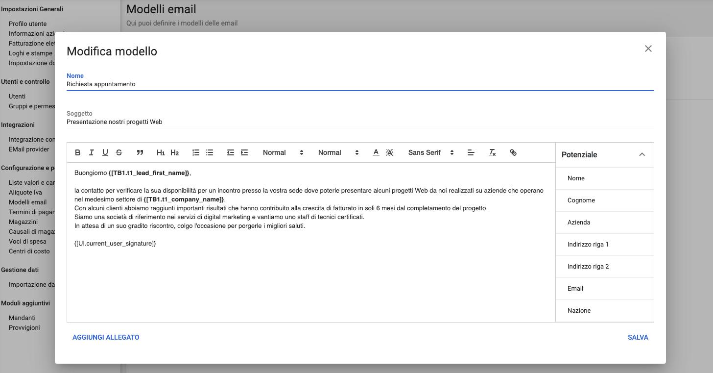 Creazione del modello email