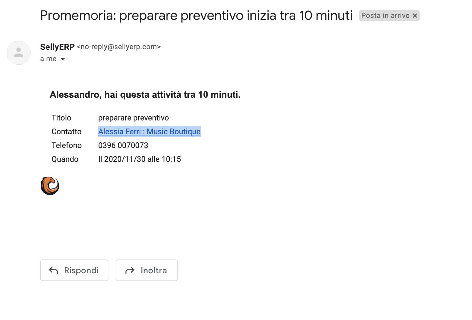 Mail notifica scadenza attività