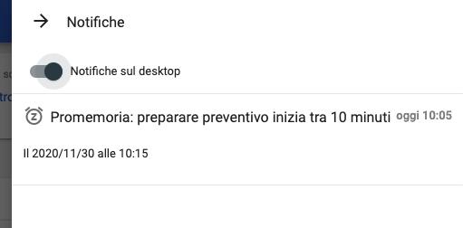 Dettaglio della notifica via pop-up