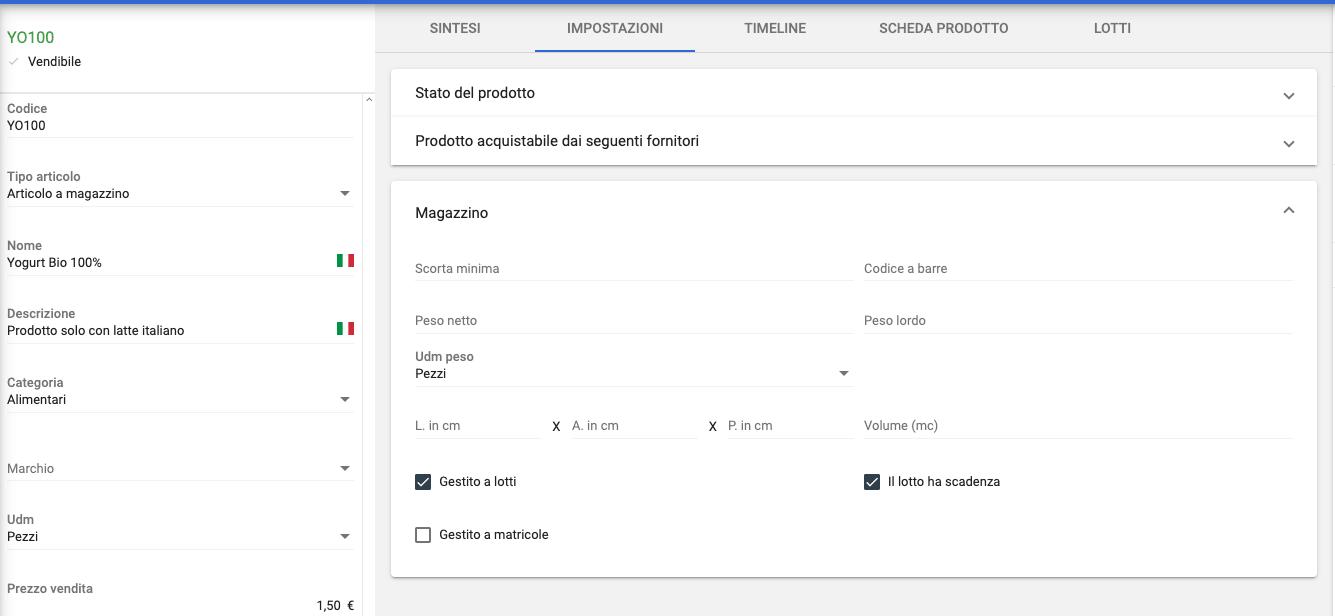 Configurazione articolo con lotto e scadenza