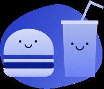 Hamburger and shake
