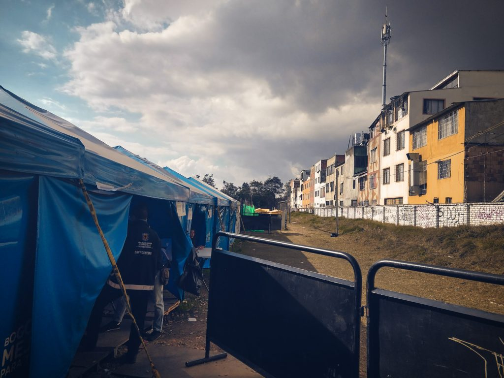 West Bogotá, Colombia – The refugee camp in Bogotá