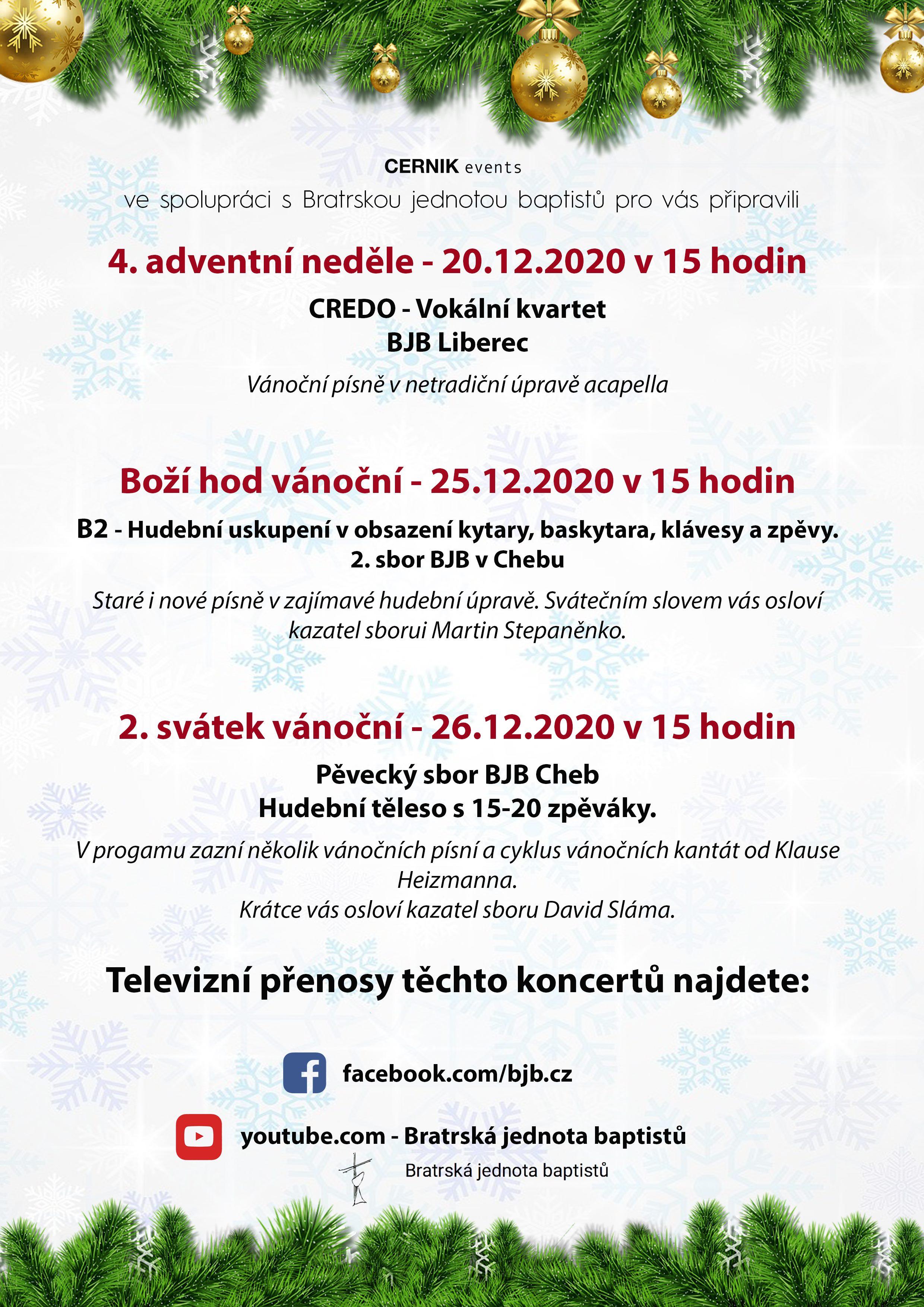 Vánoční online koncerty z Liberce a Chebu