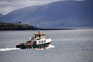 A stag and hen party on a boat trip in Dingle Harbour