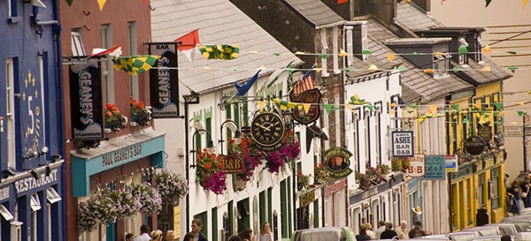 Main street, Dingle with Kerry bunting flying