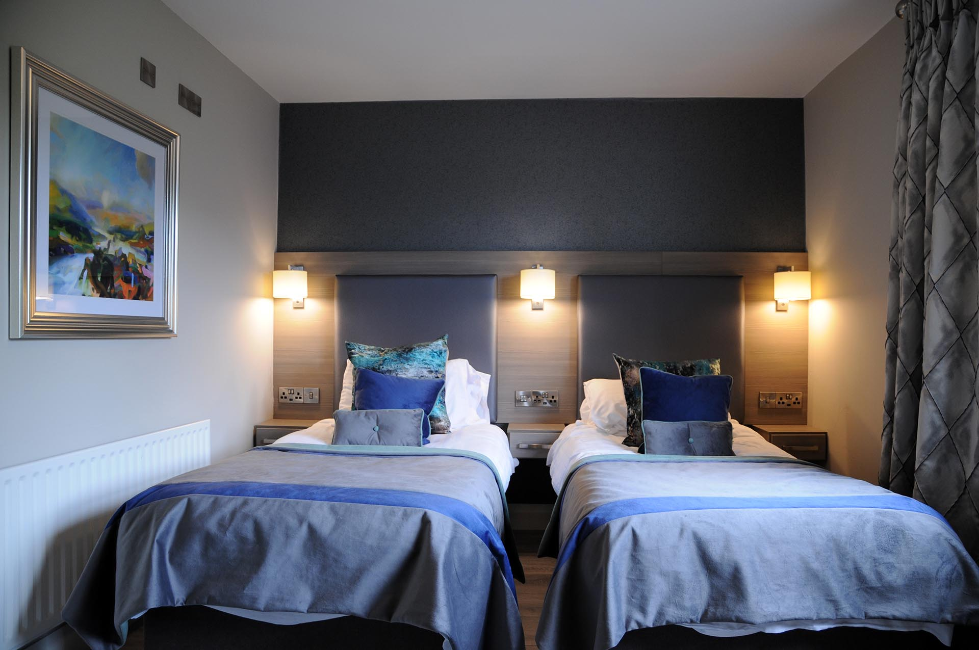 Two single beds in a twin room at Barr na Sraide's B&B accommodation in Dingle Ireland