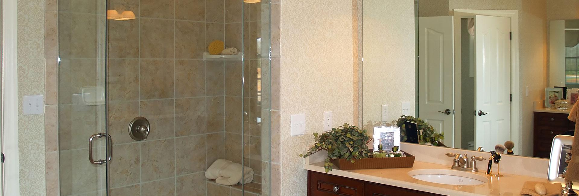 Shower enclosure in bathroom