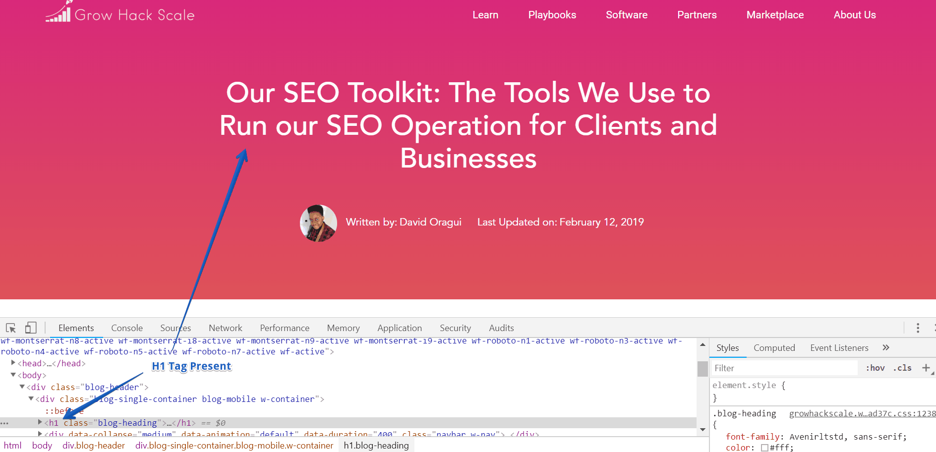 Inspect Element Page Title - On-Page SEO Checklist