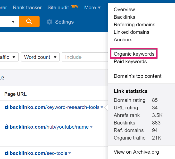 Organic Keywords Report at Page Level - How to Do Keyword Research