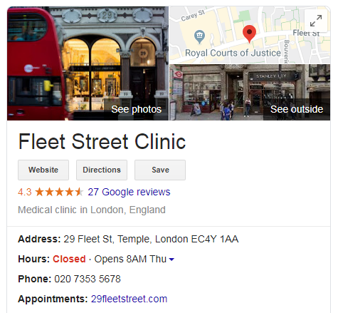 screenshot fleet street clinic - schema markup