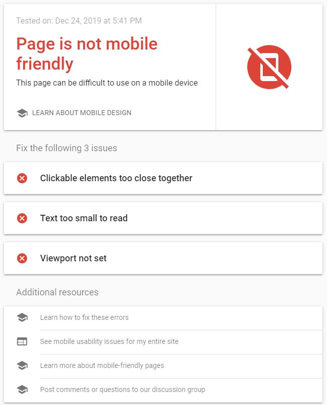 screenshot negative message and feedback - mobile responsiveness