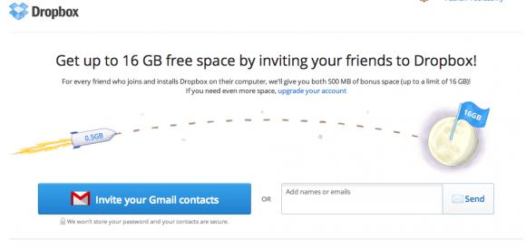 screenshot dropbox - referral marketing