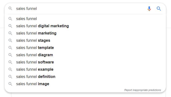 screenshot google search sales funnel - semantic SEO
