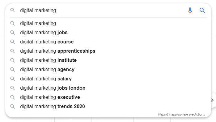 screenshot digital marketing google search - semantic SEO