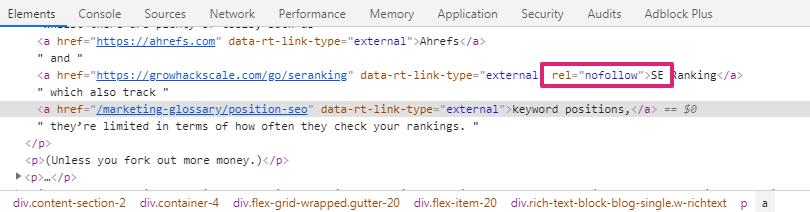screenshot inspect element nofollow tag - dofollow attribute