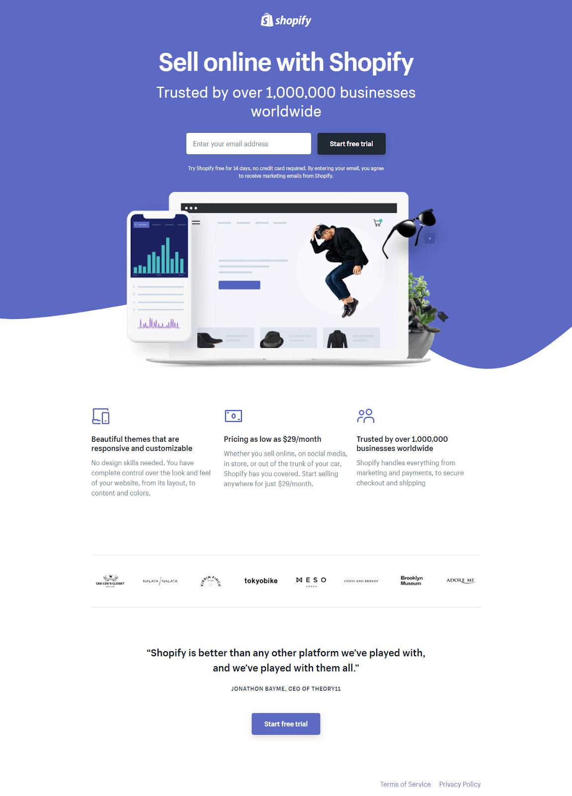 screenshot shopify free trial - landing page