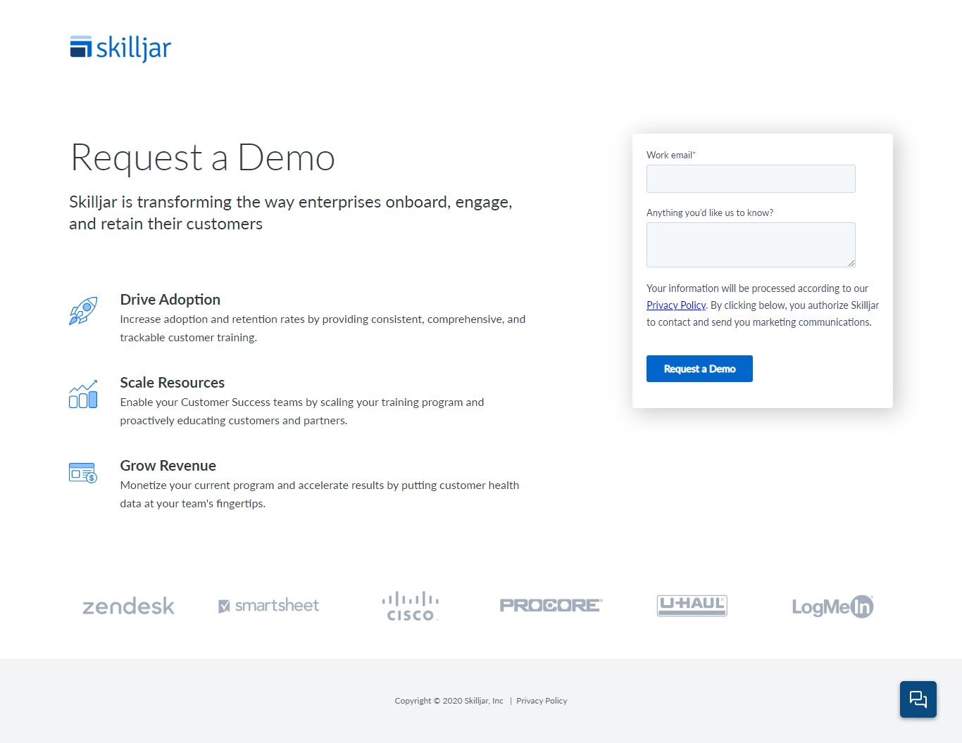 screenshot skilljar request a demo - gated content