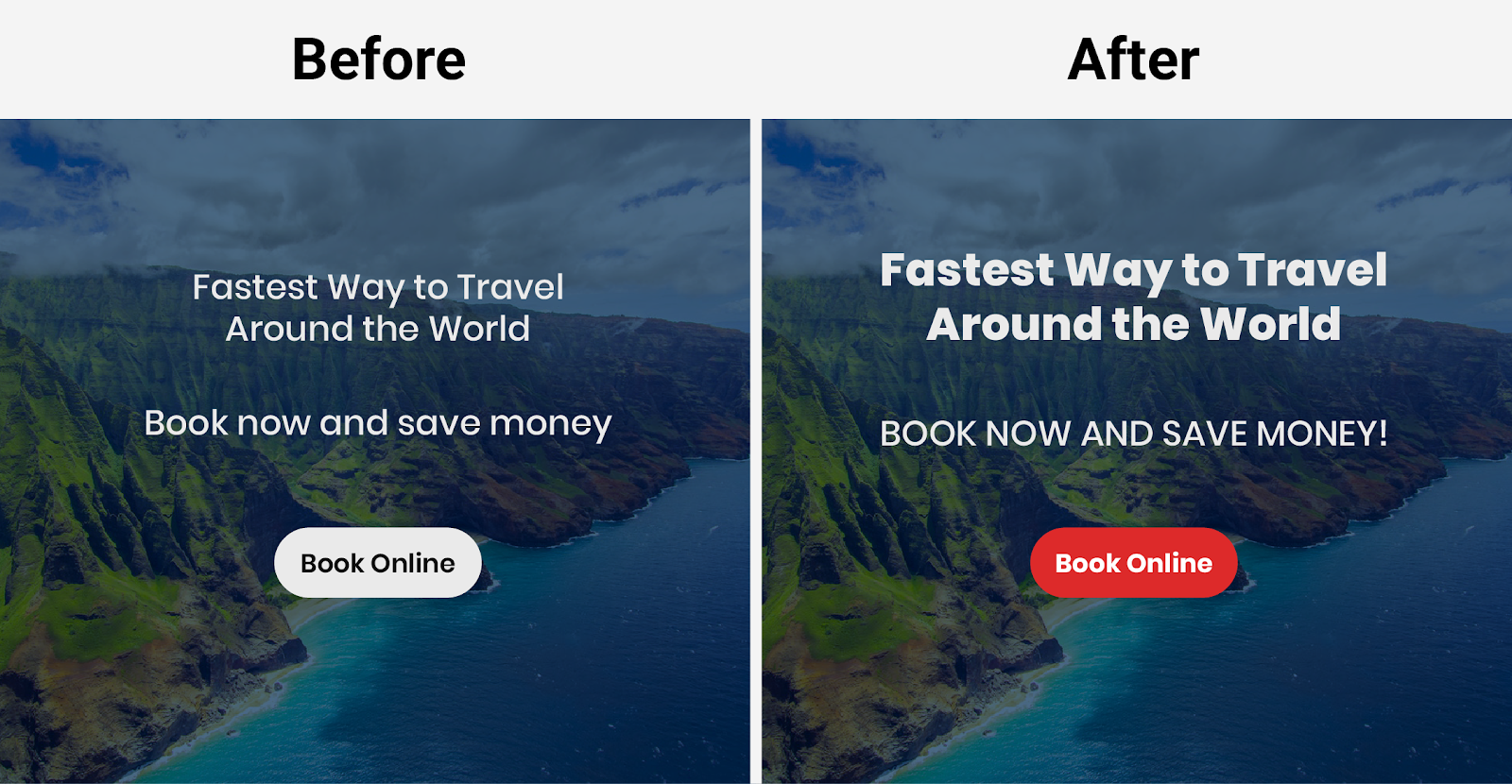 landing page example call to action - a/b testing